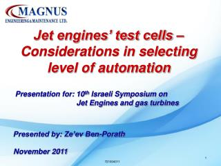 Jet engines' test cells – Considerations in selecting level of automation