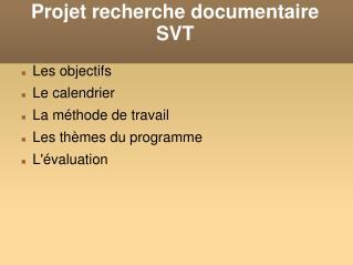 Projet recherche documentaire SVT