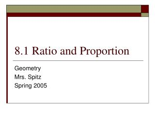 8.1 Ratio and Proportion