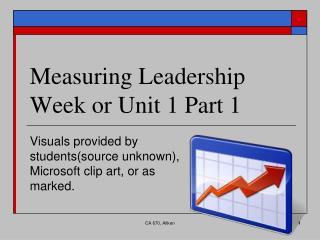 Measuring Leadership Week or Unit 1 Part 1