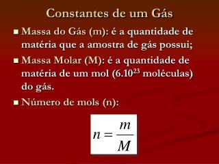 Constantes de um Gás