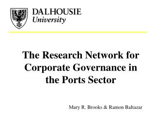 The Research Network for Corporate Governance in the Ports Sector