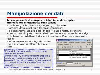 Manipolazione dei dati