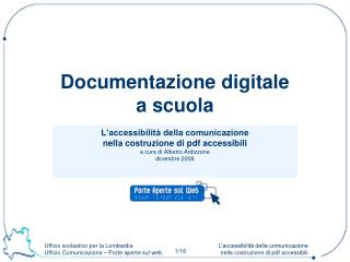 Documentazione digitale  a scuola