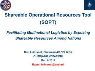Shareable Operational  Resources Tool (SORT)