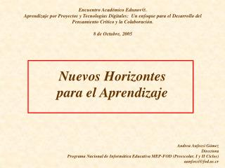 Nuevos Horizontes  para el Aprendizaje