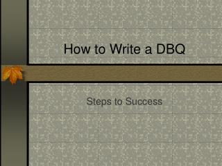 How to Write a DBQ