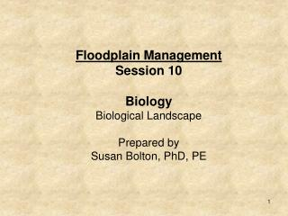 Session 10: Biological Landscape: Its impact on the floodplain and floodplain management