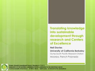 Translating knowledge into sustainable development through research and Centers of Excellence