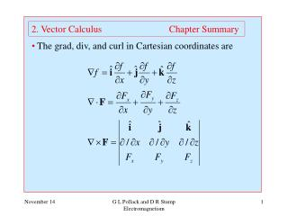 2. Vector Calculus                            Chapter Summary