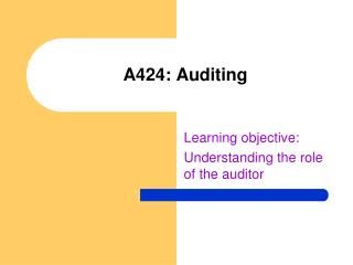 A424: Auditing