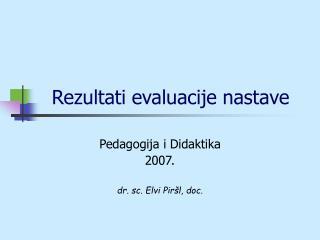 Rezultati evaluacije nastave