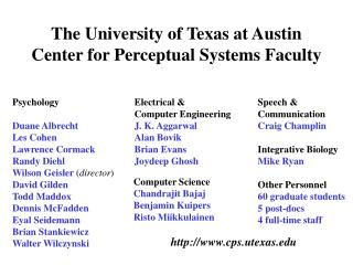 The University of Texas at Austin Center for Perceptual Systems Faculty