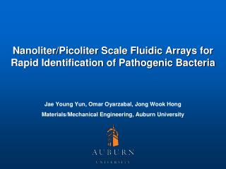 Nanoliter/Picoliter Scale Fluidic Arrays for Rapid Identification of Pathogenic Bacteria