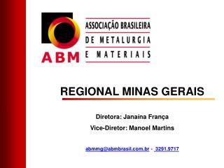 REGIONAL MINAS GERAIS Diretora: Jana�na Fran�a Vice-Diretor: Manoel Martins