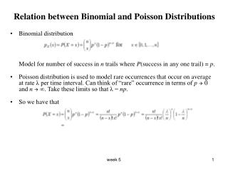 Relation between Binomial and Poisson Distributions