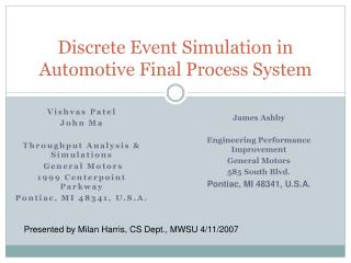 Discrete Event Simulation in Automotive Final Process System