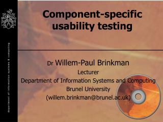 Component-specific usability testing
