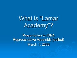 What is �Lamar Academy�?