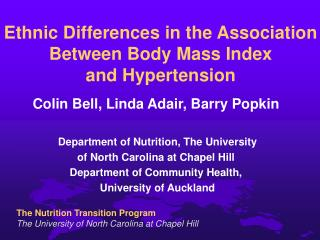 Ethnic Differences in the Association Between Body Mass Index  and Hypertension