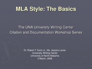 MLA Style: The Basics