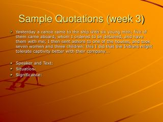 Sample Quotations (week 3)
