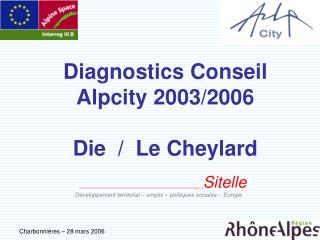 Diagnostics Conseil Alpcity 2003/2006 Die  /  Le Cheylard