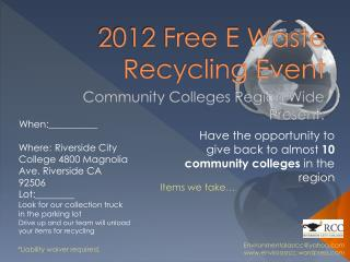 2012 Free E Waste Recycling Event