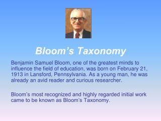 Bloom�s Taxonomy