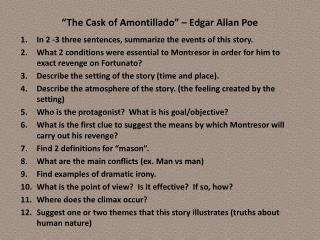 """The Cask of Amontillado"" – Edgar Allan Poe"