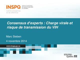 Consensus d'experts : Charge virale et risque de transmission du VIH