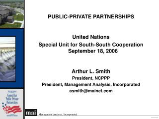 PUBLIC-PRIVATE PARTNERSHIPS United Nations