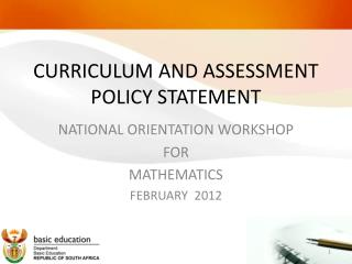 CURRICULUM AND ASSESSMENT POLICY STATEMENT