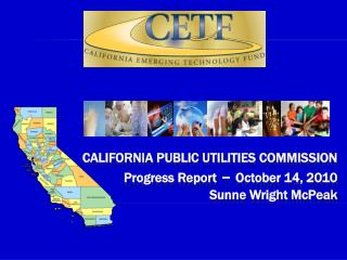 California public utilities commission  Progress Report –  October 14, 2010 Sunne Wright McPeak