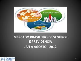 MERCADO BRASILEIRO DE SEGUROS E PREVIDÊNCIA JAN A AGOSTO - 2012
