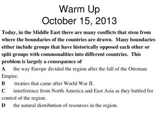 Warm Up October 15, 2013