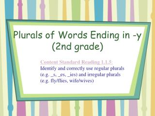 Plurals of Words Ending in -y (2nd grade)