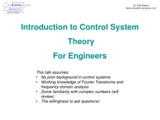 Introduction to Control System Theory For  Engineers
