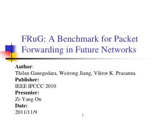 FRuG: A Benchmark for Packet Forwarding in Future Networks