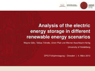 Analysis  of the electric energy storage  in different  renewable energy scenarios