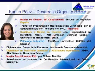 Karina Páez – Desarrollo Organ. y RRHH