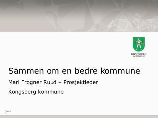 Sammen om en bedre kommune Mari Frogner Ruud – Prosjektleder Kongsberg kommune