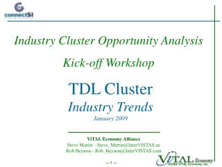 TDL Cluster Industry Trends January 2009