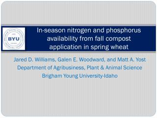 In-season nitrogen and phosphorus availability from  fall  compost application in spring wheat