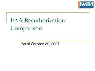 FAA Reauthorization Comparison