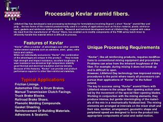 Processing Kevlar aramid fibers.