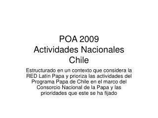 POA 2009 Actividades Nacionales  Chile