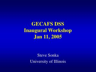 GECAFS DSS  Inaugural Workshop Jan 11, 2005
