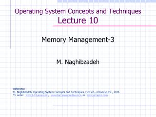 Operating System Concepts and Techniques  Lecture 10