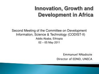 Innovation, Growth and Development in Africa